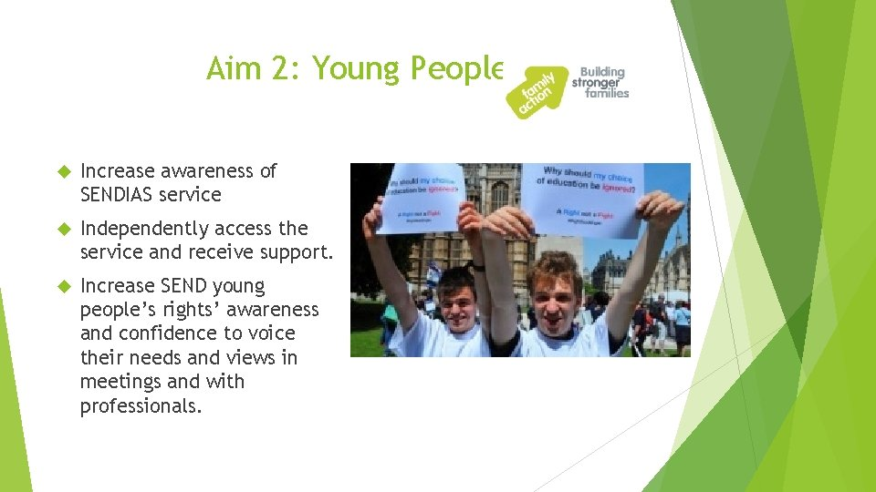 Aim 2: Young People Increase awareness of SENDIAS service Independently access the service and