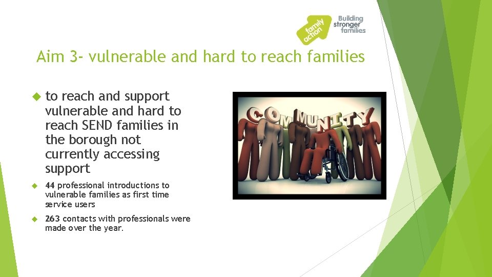 Aim 3 - vulnerable and hard to reach families to reach and support vulnerable