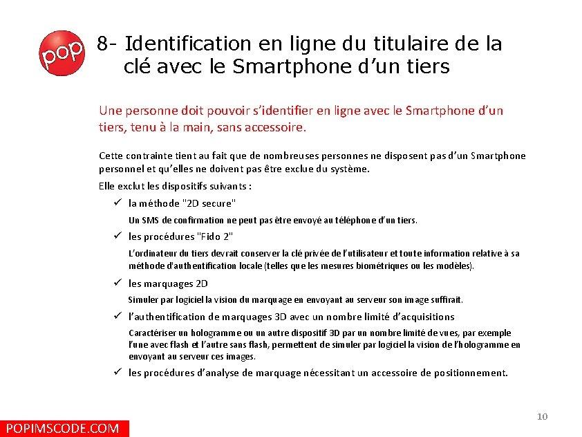 8 - Identification en ligne du titulaire de la clé avec le Smartphone d'un