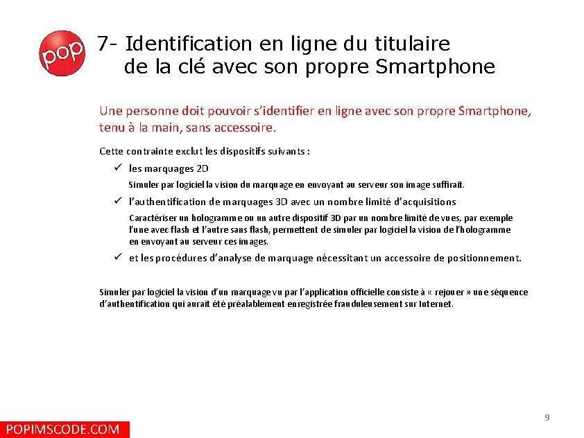 7 - Identification en ligne du titulaire de la clé avec son propre Smartphone