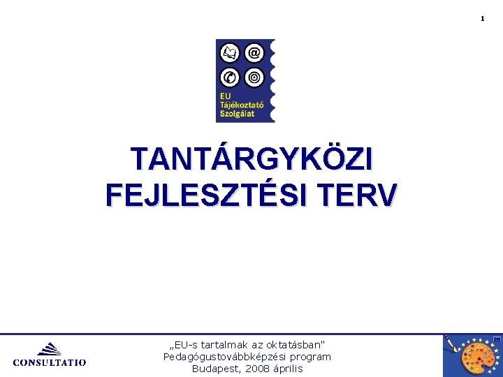 """1 TANTÁRGYKÖZI FEJLESZTÉSI TERV """"EU-s tartalmak az oktatásban"""" Pedagógustovábbképzési program Budapest, 2008 április"""