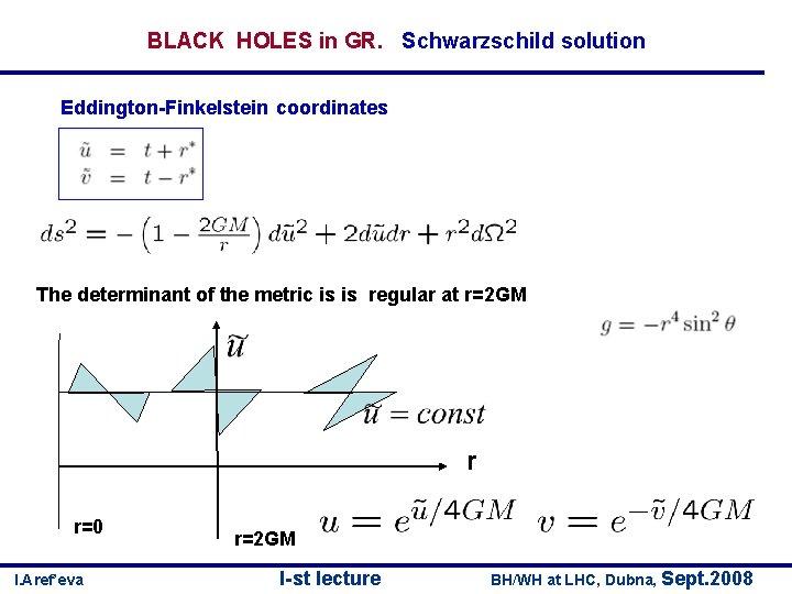 BLACK HOLES in GR. Schwarzschild solution Eddington-Finkelstein coordinates The determinant of the metric is