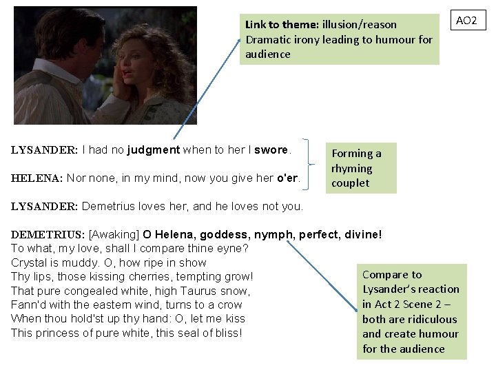 Link to theme: illusion/reason Dramatic irony leading to humour for audience LYSANDER: I had