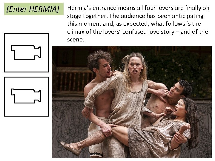 [Enter HERMIA] Hermia's entrance means all four lovers are finally on stage together. The