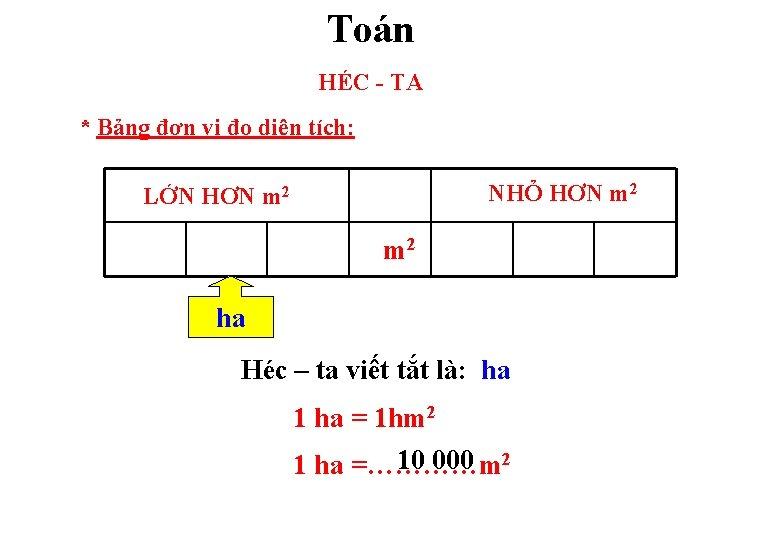 Toán HÉC - TA * Bảng đơn vị đo diện tích: NHỎ HƠN m