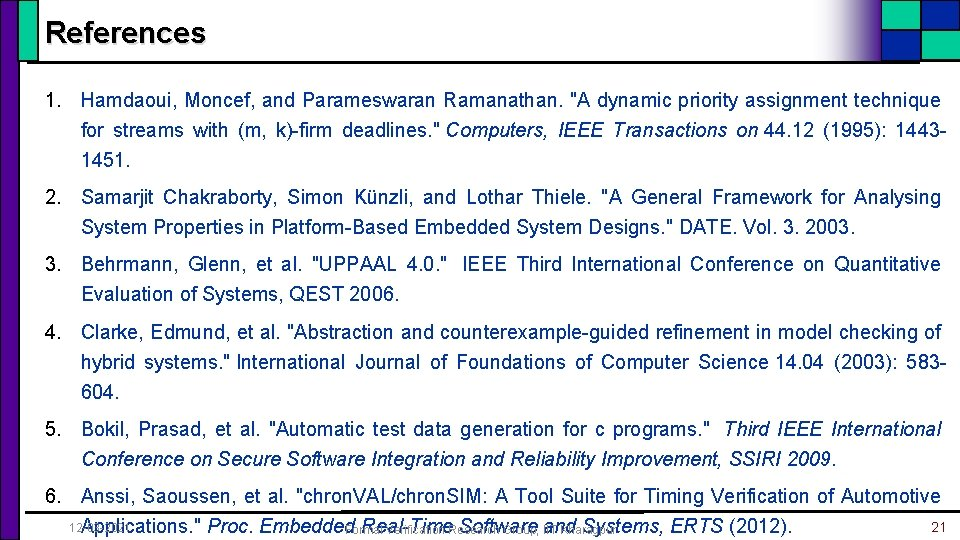 """References 1. Hamdaoui, Moncef, and Parameswaran Ramanathan. """"A dynamic priority assignment technique for streams"""