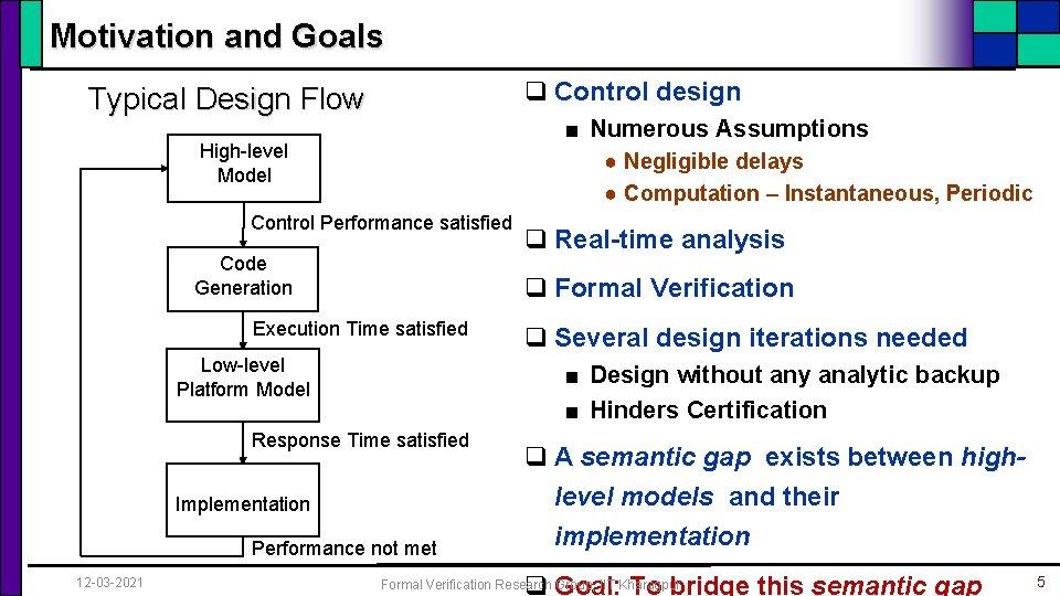 Motivation and Goals q Control design Typical Design Flow ■ Numerous Assumptions High-level Model