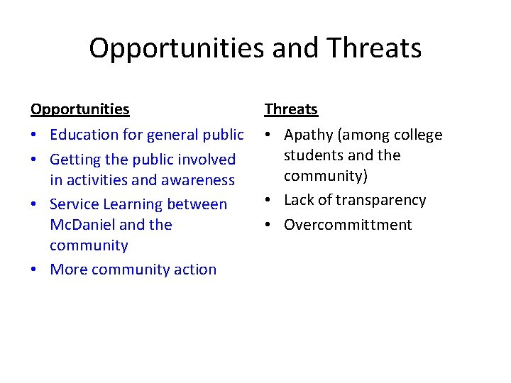 Opportunities and Threats Opportunities Threats • Education for general public • Getting the public