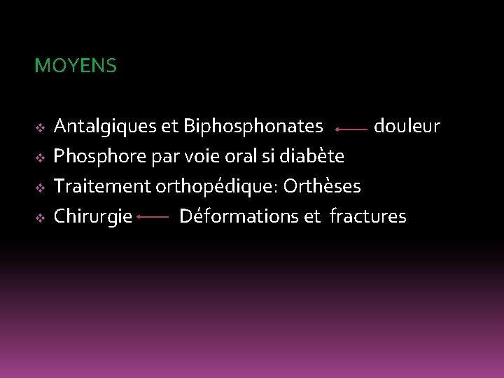 MOYENS v v Antalgiques et Biphosphonates douleur Phosphore par voie oral si diabète Traitement