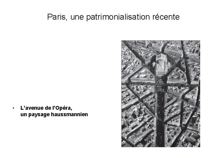 Paris, une patrimonialisation récente • L'avenue de l'Opéra, un paysage haussmannien