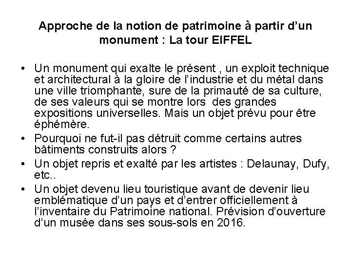 Approche de la notion de patrimoine à partir d'un monument : La tour EIFFEL