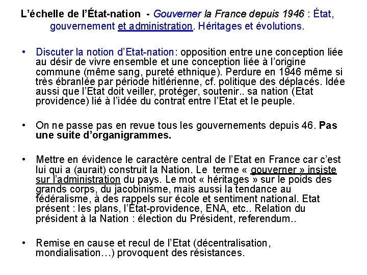 L'échelle de l'État-nation - Gouverner la France depuis 1946 : État, la France depuis