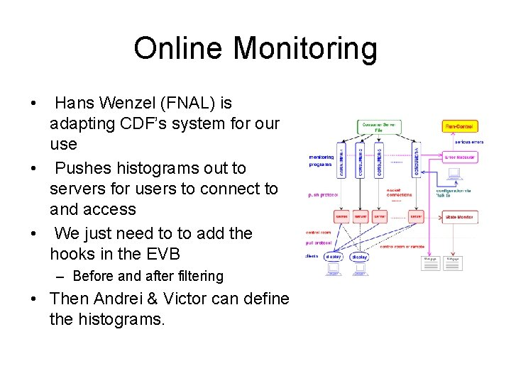 Online Monitoring • Hans Wenzel (FNAL) is adapting CDF's system for our use •
