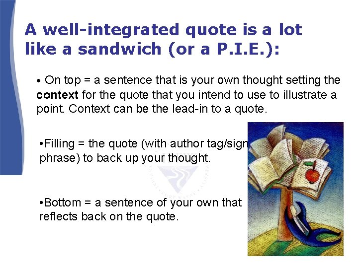 A well-integrated quote is a lot like a sandwich (or a P. I. E.