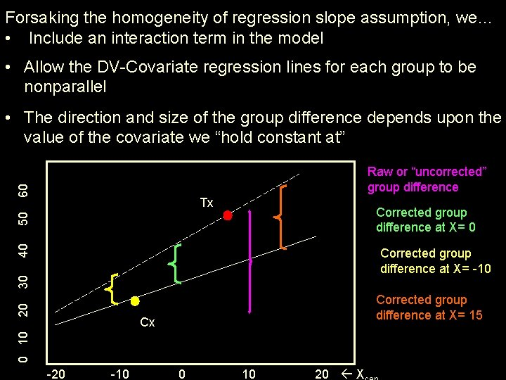 Forsaking the homogeneity of regression slope assumption, we… • Include an interaction term in