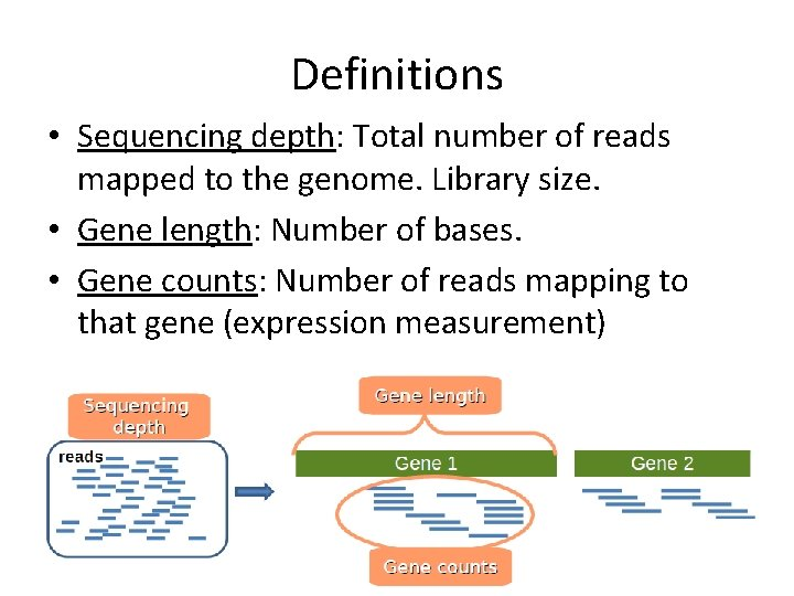 Definitions • Sequencing depth: Total number of reads mapped to the genome. Library size.