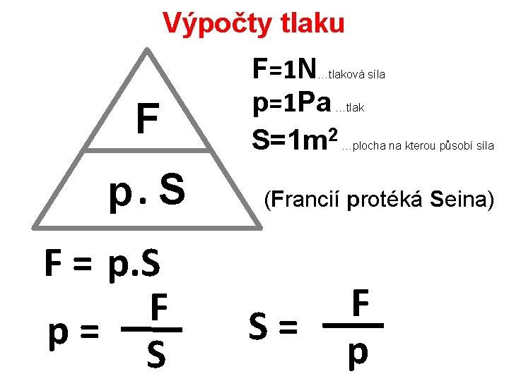 Výpočty tlaku F=1 N p=1 Pa S=1 m 2 …tlaková síla F p. S
