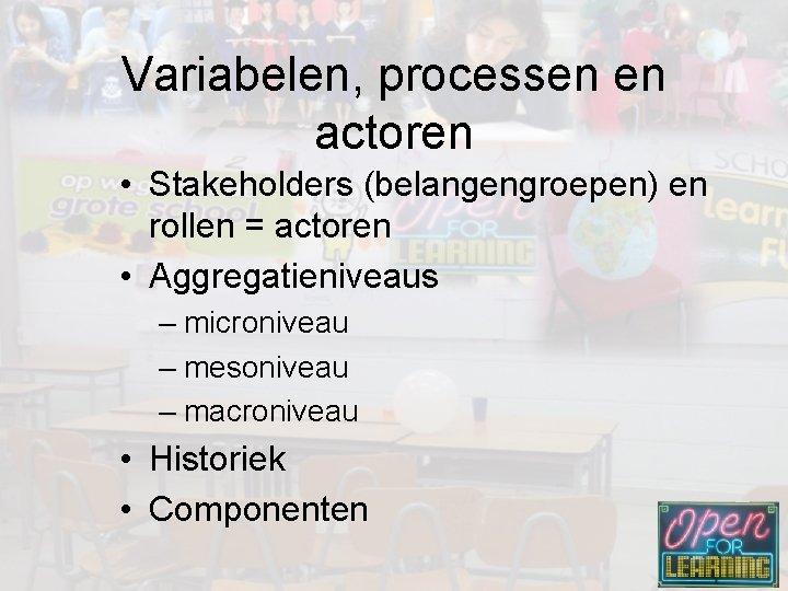 Variabelen, processen en actoren • Stakeholders (belangengroepen) en rollen = actoren • Aggregatieniveaus –