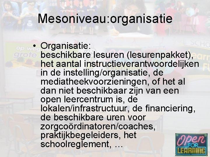 Mesoniveau: organisatie • Organisatie: beschikbare lesuren (lesurenpakket), het aantal instructieverantwoordelijken in de instelling/organisatie, de