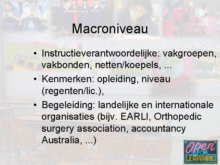 Macroniveau • Instructieverantwoordelijke: vakgroepen, vakbonden, netten/koepels, . . . • Kenmerken: opleiding, niveau (regenten/lic.