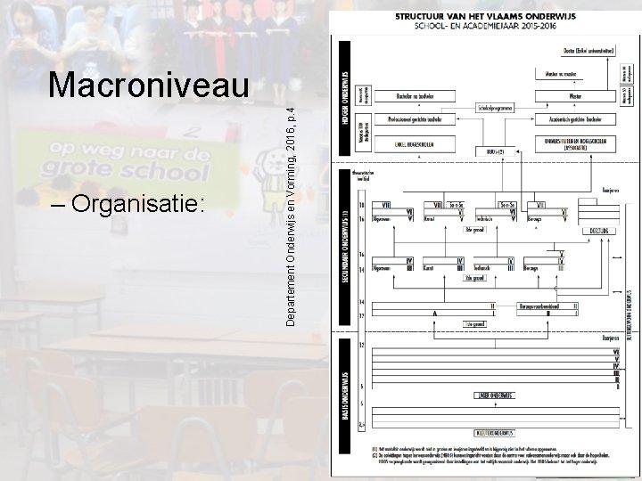 – Organisatie: Departement Onderwijs en Vorming, 2016, p. 4 Macroniveau