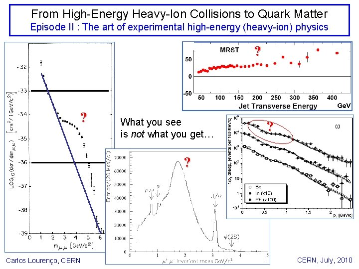 From High-Energy Heavy-Ion Collisions to Quark Matter Episode II : The art of experimental