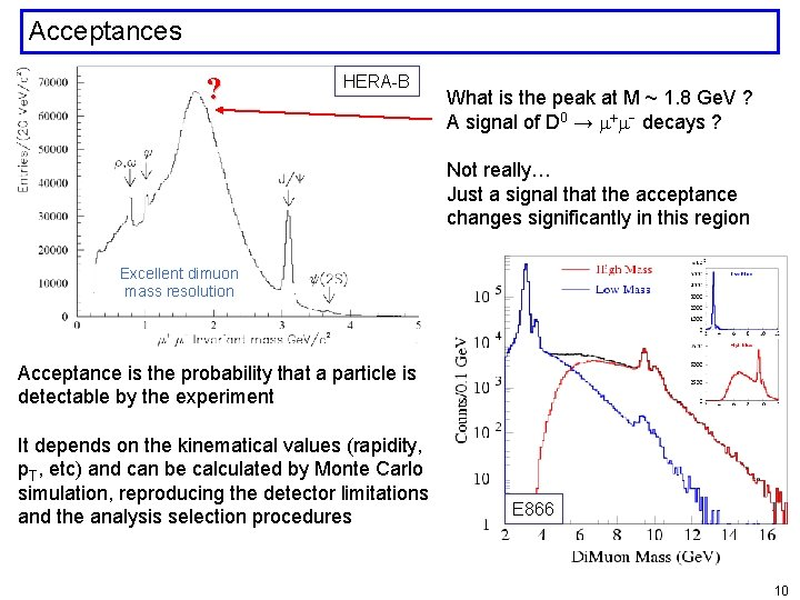 Acceptances ? HERA-B What is the peak at M ~ 1. 8 Ge. V