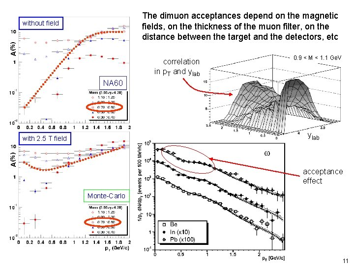 The dimuon acceptances depend on the magnetic fields, on the thickness of the muon