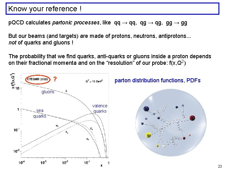 Know your reference ! p. QCD calculates partonic processes, like qq → qq, qg