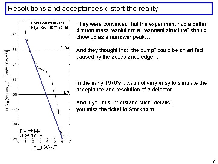 Resolutions and acceptances distort the reality Leon Lederman et al. Phys. Rev. D 8