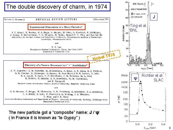 The double discovery of charm, in 1974 J Ting et al. BNL 976 1
