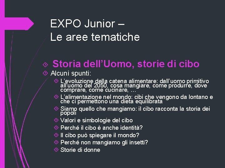 EXPO Junior – Le aree tematiche Storia dell'Uomo, Alcuni spunti: storie di cibo L'evoluzione