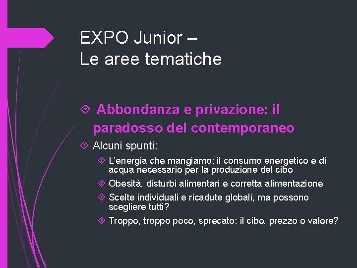 EXPO Junior – Le aree tematiche Abbondanza e privazione: il paradosso del contemporaneo Alcuni