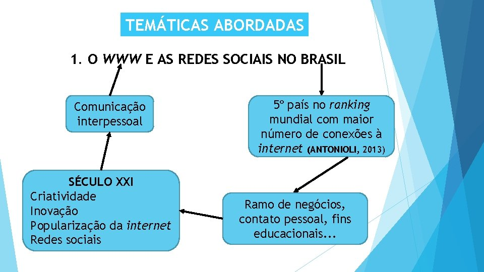 TEMÁTICAS ABORDADAS 1. O WWW E AS REDES SOCIAIS NO BRASIL Comunicação interpessoal SÉCULO