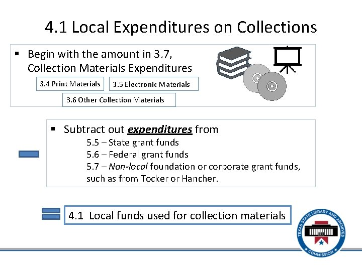 4. 1 Local Expenditures on Collections § Begin with the amount in 3. 7,
