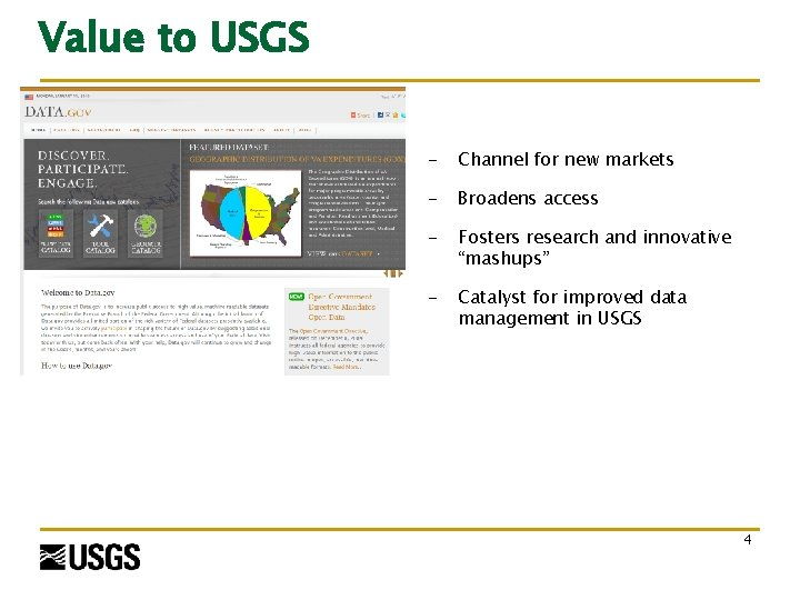 Value to USGS - Channel for new markets - Broadens access - Fosters research