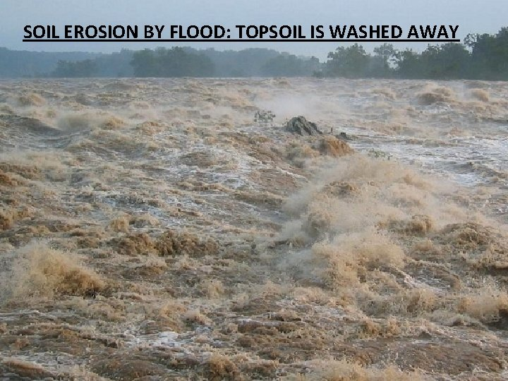 SOIL EROSION BY FLOOD: TOPSOIL IS WASHED AWAY
