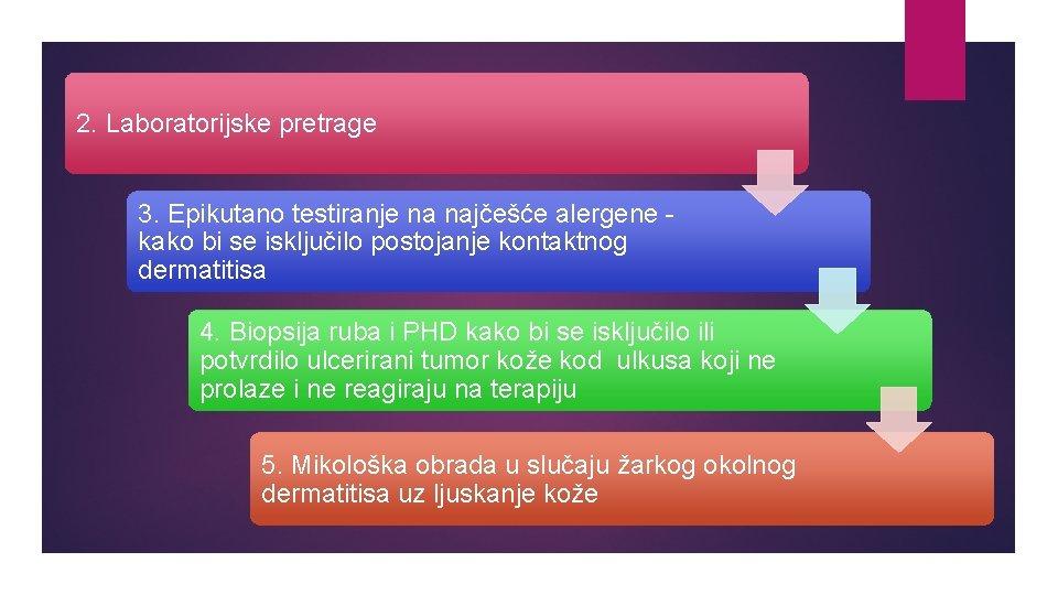 2. Laboratorijske pretrage 3. Epikutano testiranje na najčešće alergene kako bi se isključilo postojanje