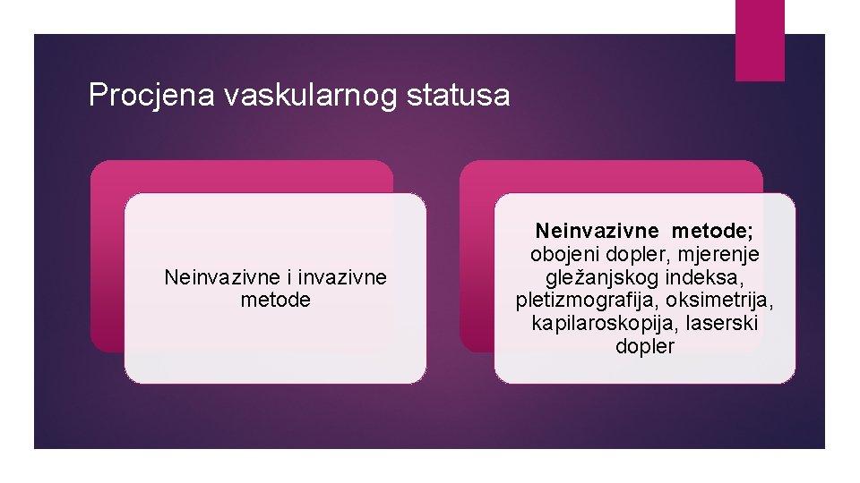 Procjena vaskularnog statusa Neinvazivne i invazivne metode Neinvazivne metode; obojeni dopler, mjerenje gležanjskog indeksa,