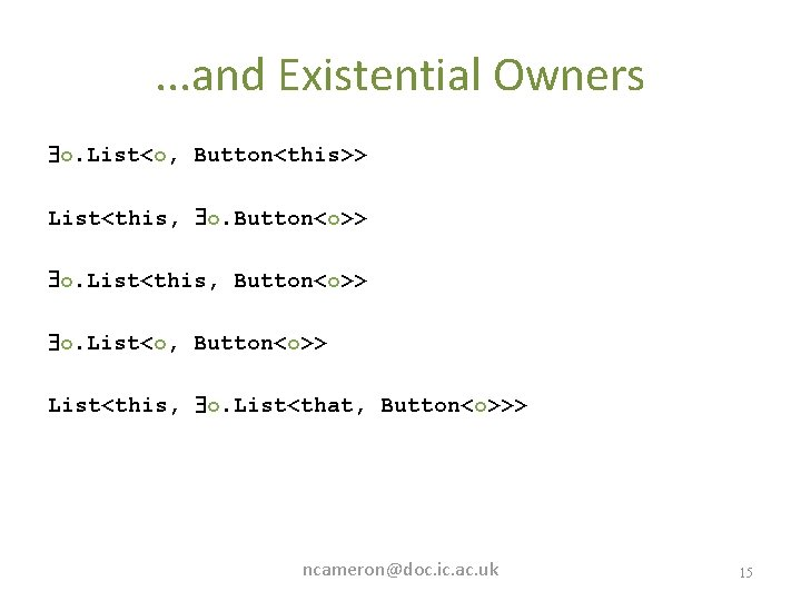 . . . and Existential Owners o. List<o, Button<this>> List<this, o. Button<o>> o. List<this,