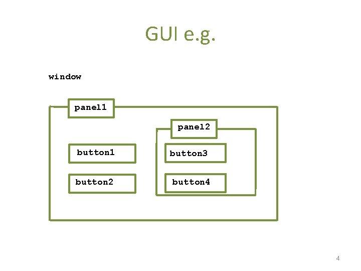 GUI e. g. window panel 1 panel 2 button 1 button 3 button 2