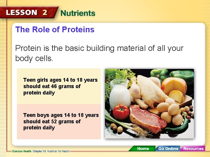 The Role of Proteins Protein is the basic building material of all your body