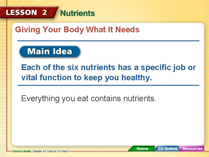 Giving Your Body What It Needs Each of the six nutrients has a specific