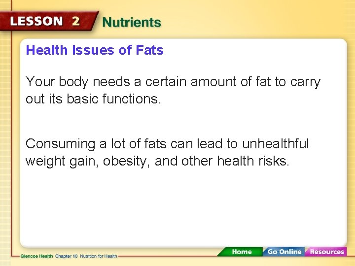 Health Issues of Fats Your body needs a certain amount of fat to carry