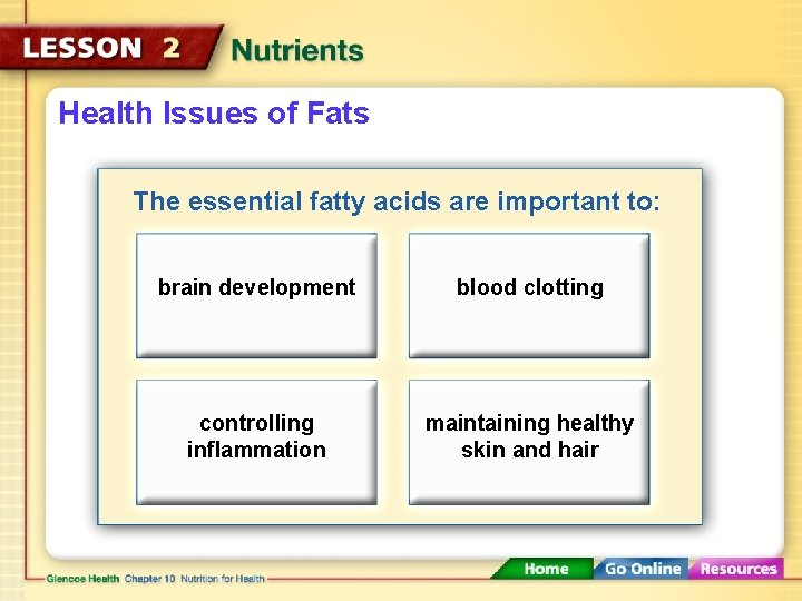 Health Issues of Fats The essential fatty acids are important to: brain development blood