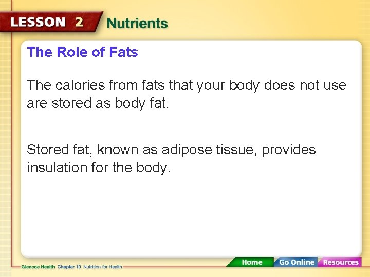 The Role of Fats The calories from fats that your body does not use