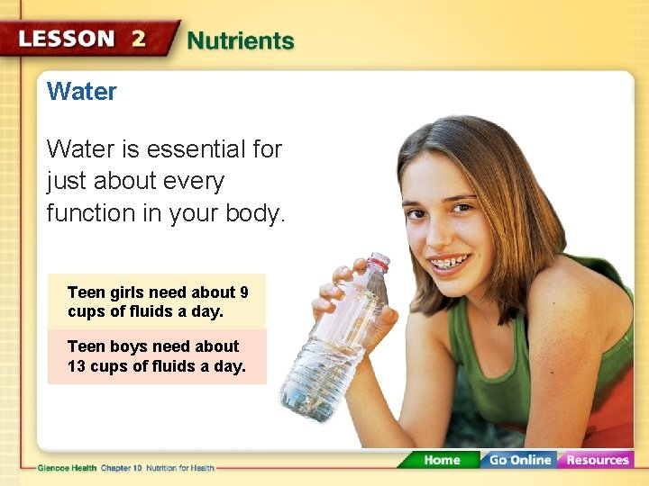Water is essential for just about every function in your body. Teen girls need