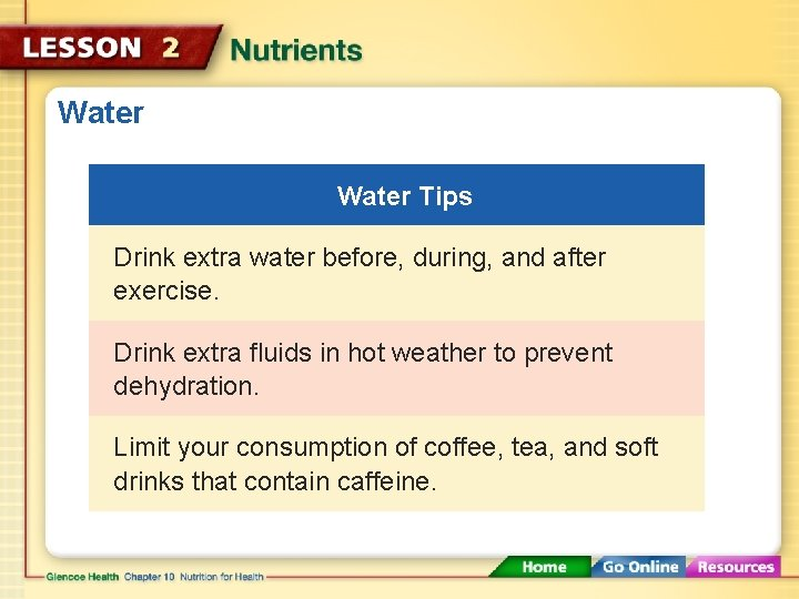 Water Tips Drink extra water before, during, and after exercise. Drink extra fluids in