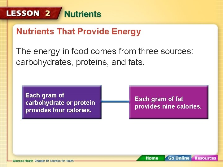 Nutrients That Provide Energy The energy in food comes from three sources: carbohydrates, proteins,