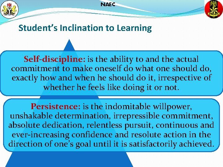 NAEC Student's Inclination to Learning Self-discipline: is the ability to and the actual commitment